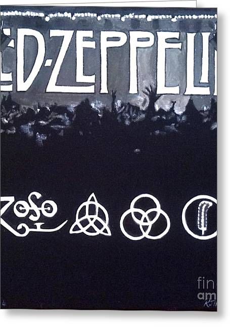 Led Zeppelin Greeting Card by Richard John Holden RA