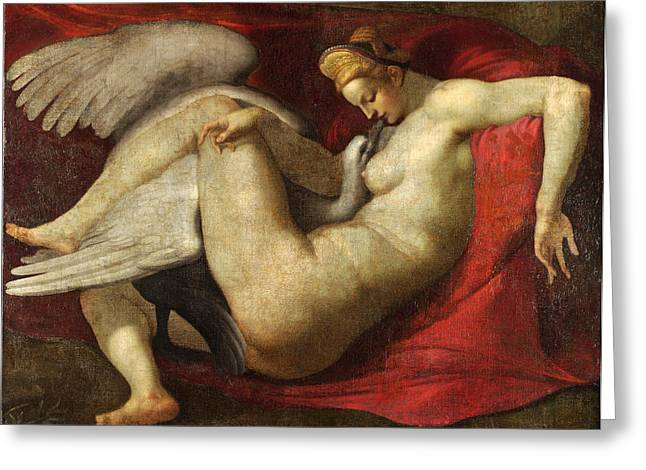 Leda And The Swan Greeting Card by After Michelangelo