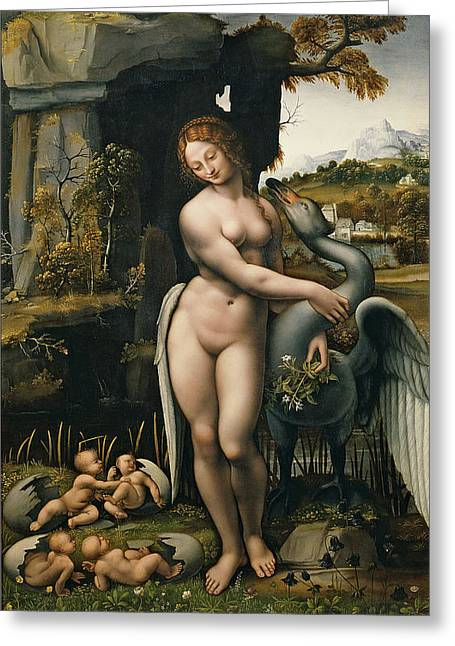Leda And The Swan Greeting Card by Francesco Melzi