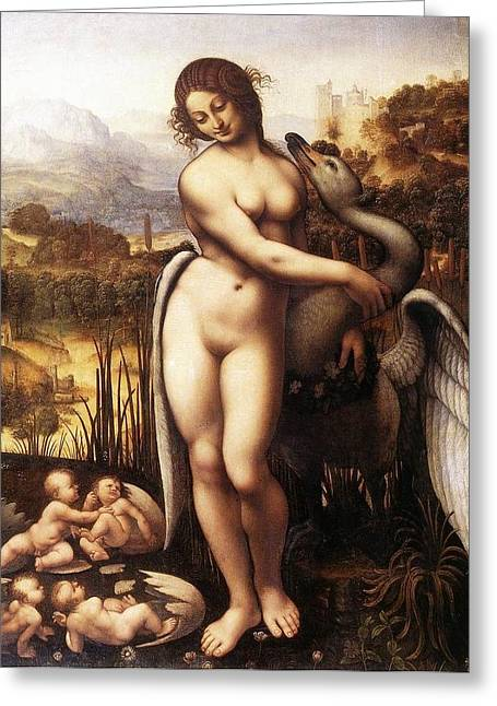 Leda And The Swan Greeting Card