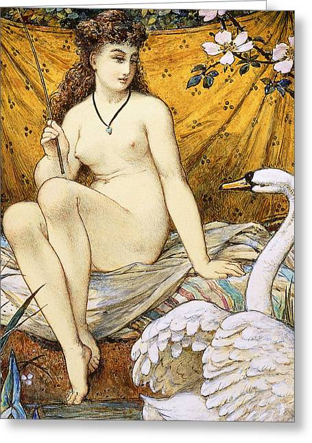 Leda And The Swan Greeting Card by William Stephen Coleman