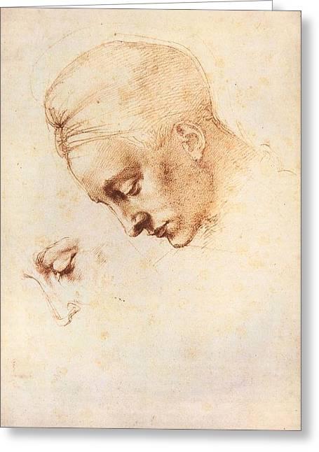 Leda's Head - Study Greeting Card by Michelangelo Buonarroti