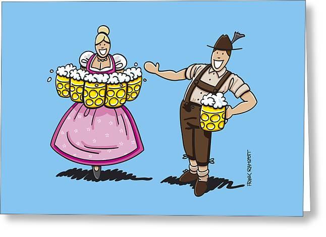 Lederhosen Man Welcomes Oktoberfest Beer Waitress Greeting Card by Frank Ramspott