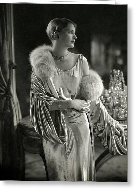 Lee Miller Wearing An Evening Gown Greeting Card by Edward Steichen