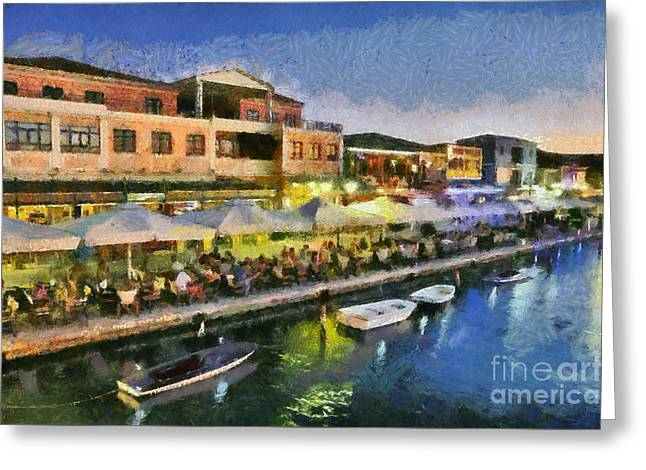 Lefkada Town During Dusk Time Greeting Card by George Atsametakis