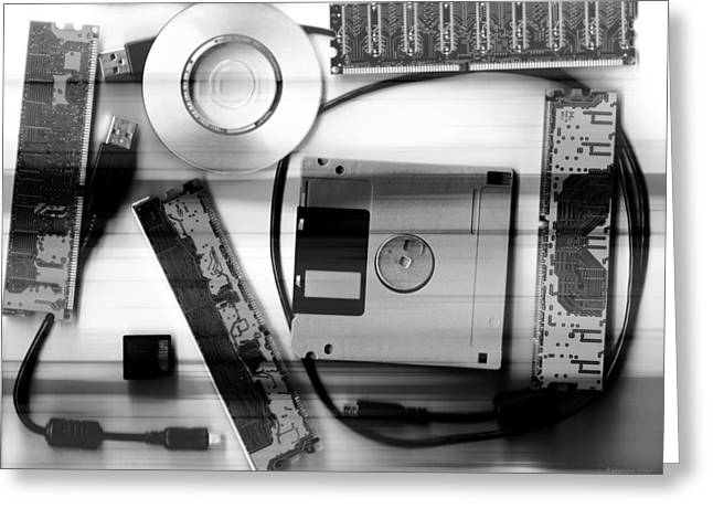 Leftover Tech - Black And White Greeting Card by Shawna Rowe