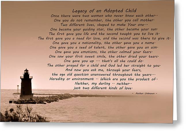 Legacy Of An Adopted Child Greeting Card