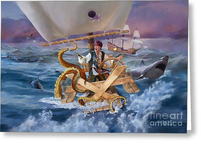 Greeting Card featuring the painting Legendary Pirate by Rob Corsetti