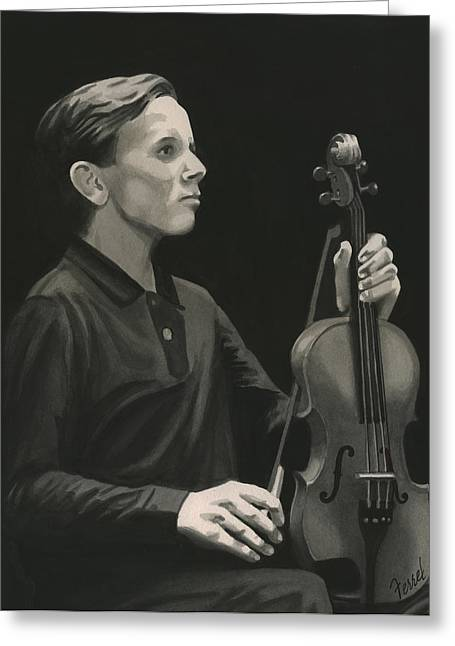Greeting Card featuring the painting Legendary Violinist by Ferrel Cordle