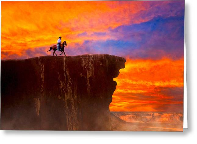 Legends Of The Wild West Sunset Greeting Card