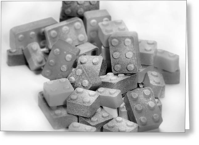 Lego Candy Blocks In Black And White Greeting Card