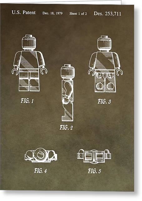 Lego Man Patent Greeting Card by Dan Sproul