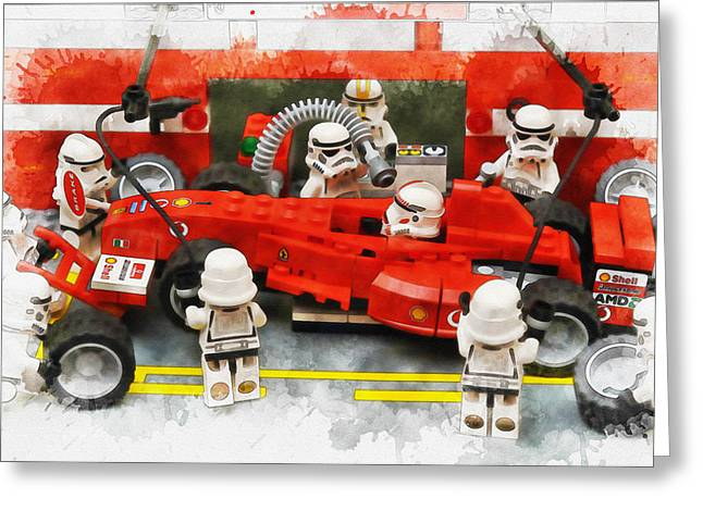 Lego Pit Stop Greeting Card