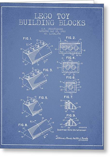 Lego Toy Building Blocks Patent - Light Blue Greeting Card