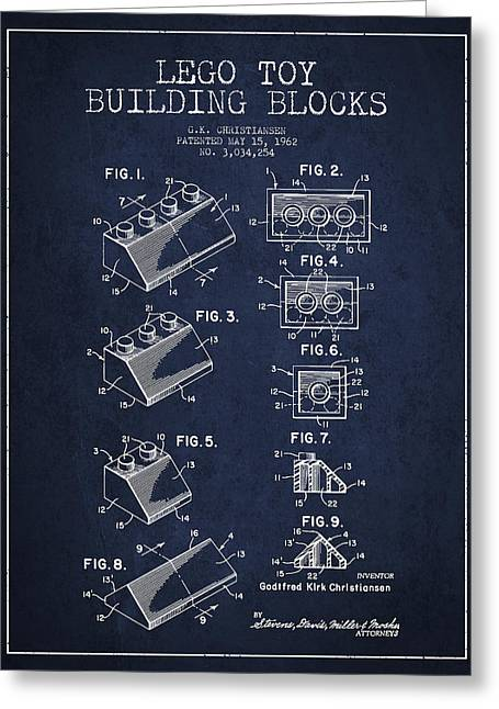 Lego Toy Building Blocks Patent - Navy Blue Greeting Card
