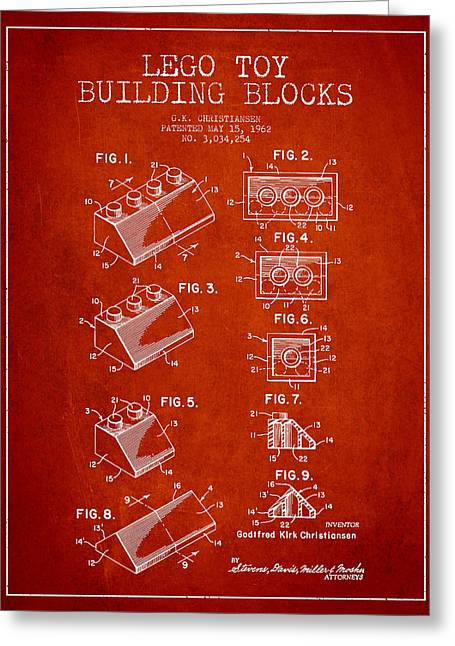 Lego Toy Building Blocks Patent - Red Greeting Card