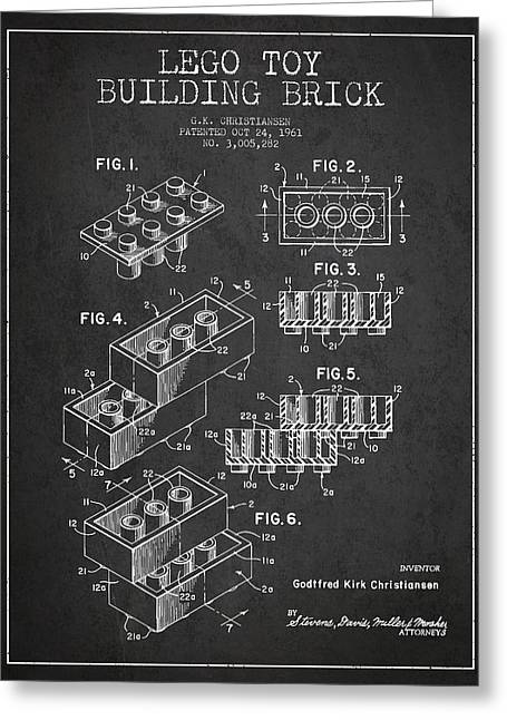 Lego Toy Building Brick Patent - Dark Greeting Card by Aged Pixel