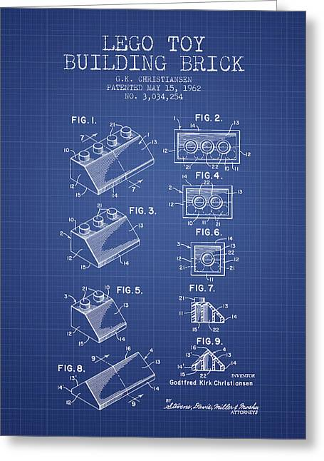 Lego Toy Building Brick Patent From 1962 - Blueprint Greeting Card by Aged Pixel