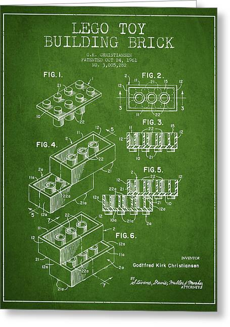 Lego Toy Building Brick Patent - Green Greeting Card by Aged Pixel