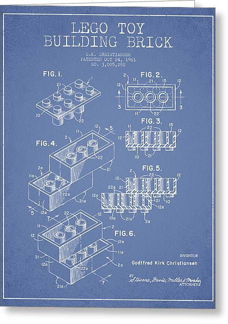 Lego Toy Building Brick Patent - Light Blue Greeting Card