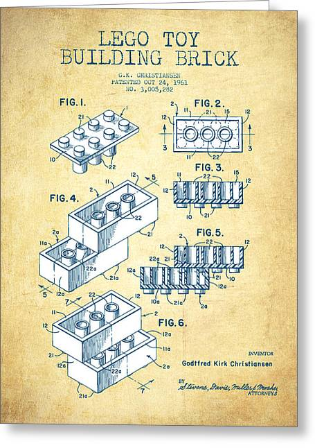 Lego Toy Building Brick Patent - Vintage Paper Greeting Card by Aged Pixel