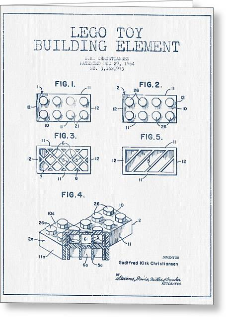 Lego Toy Building Element Patent - Blue Ink Greeting Card by Aged Pixel