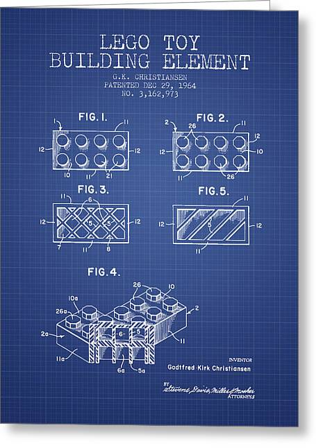 Lego Toy Building Element Patent From 1964 - Blueprint Greeting Card