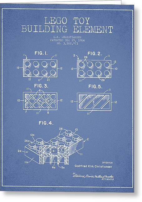 Lego Toy Building Element Patent - Light Blue Greeting Card by Aged Pixel
