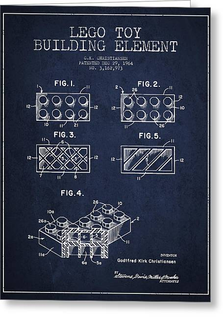 Lego Toy Building Element Patent - Navy Blue Greeting Card