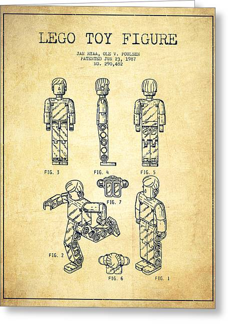Lego Toy Figure Patent - Vintage Greeting Card by Aged Pixel