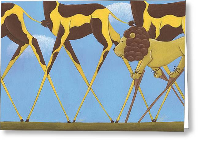 Whimsical Giraffe Painting  Greeting Card by Christy Beckwith