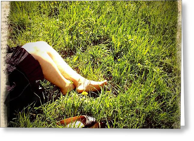Legs Of A Woman And Green Grass Greeting Card