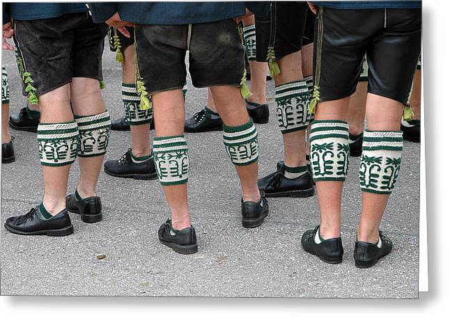 Legs Of Men With Traditional Bavarian Half Stockings Greeting Card
