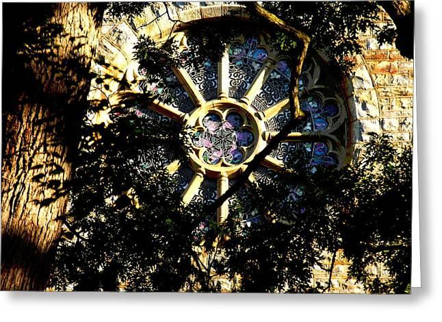 Lehigh University Bethlehem Packer Memorial Chapel Window Greeting Card by Jacqueline M Lewis