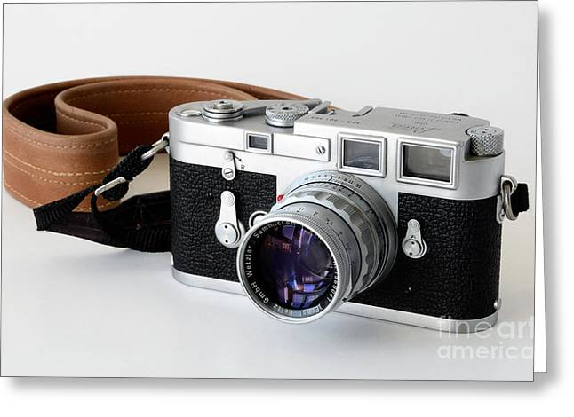 Leica M3 With Leather Strap Greeting Card by RicardMN Photography