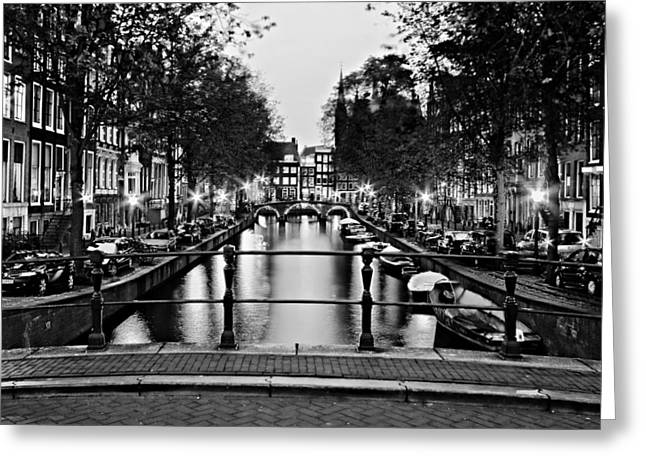 Leidsegracht Canal At Night / Amsterdam Greeting Card