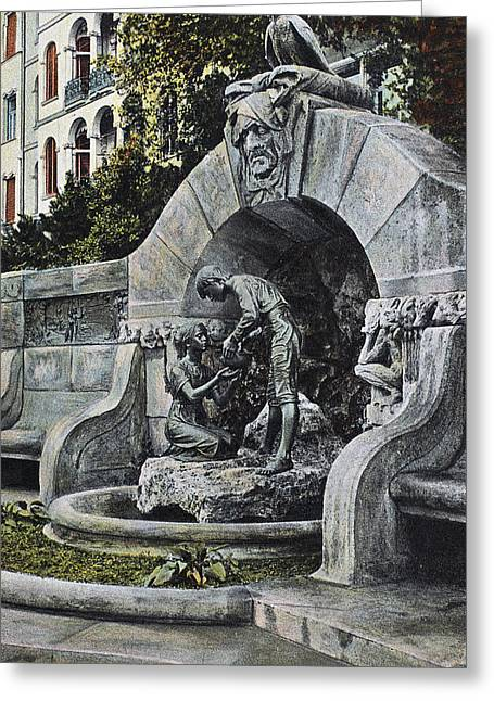 Leipzig M�rchenbrunnen Greeting Card by Granger