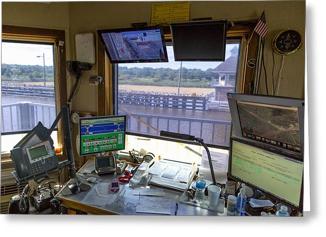Greeting Card featuring the photograph Leland Bowman Locks Control Room by Gregory Daley  PPSA