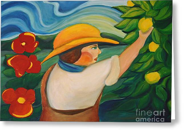 Lemon And Hibiscus Greeting Card by Teresa Hutto
