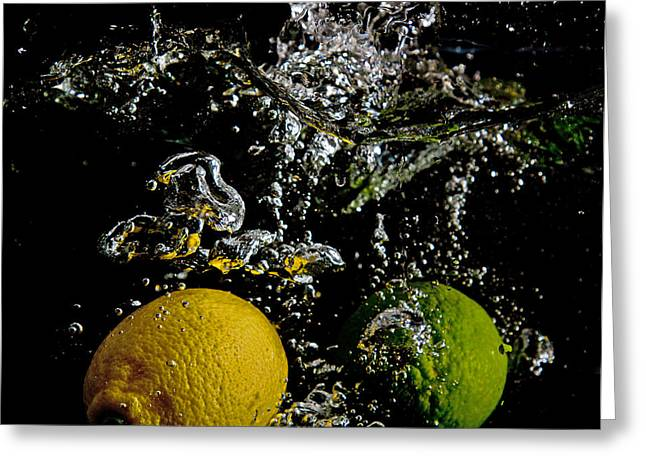 Greeting Card featuring the digital art Lemon And Lime Splash by John Hoey