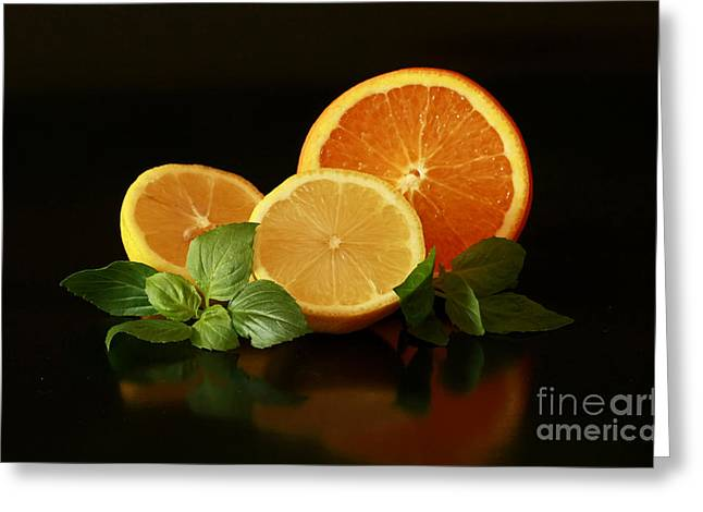 Lemon And Orange Delight Greeting Card by Inspired Nature Photography Fine Art Photography