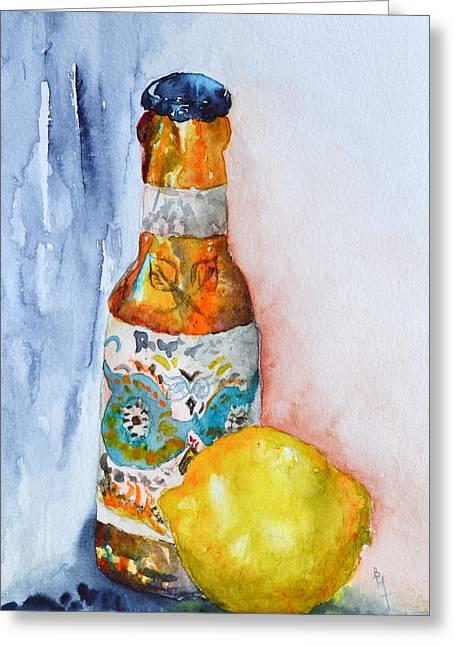 Lemon And Pilsner Greeting Card by Beverley Harper Tinsley