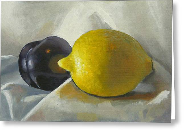 Lemon And Plum Greeting Card by Peter Orrock