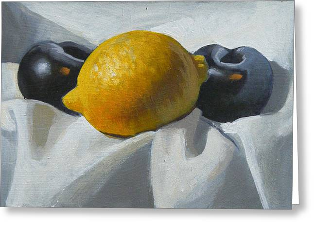 Lemon And Plums Greeting Card by Peter Orrock