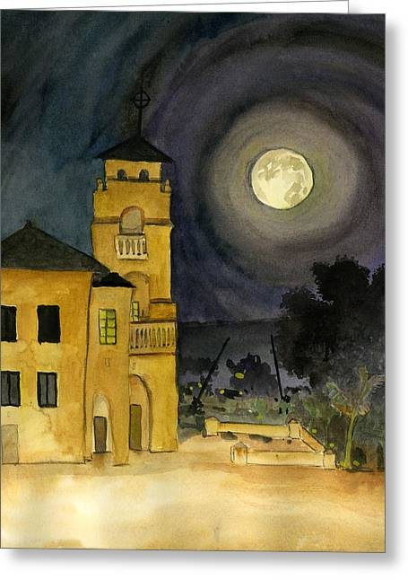 Lemon Grove Church By Full Moon Greeting Card