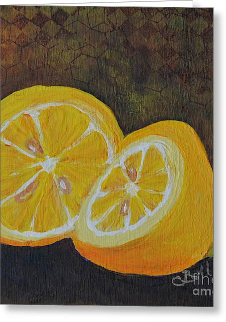 Lemon Love Greeting Card by Claire Bull