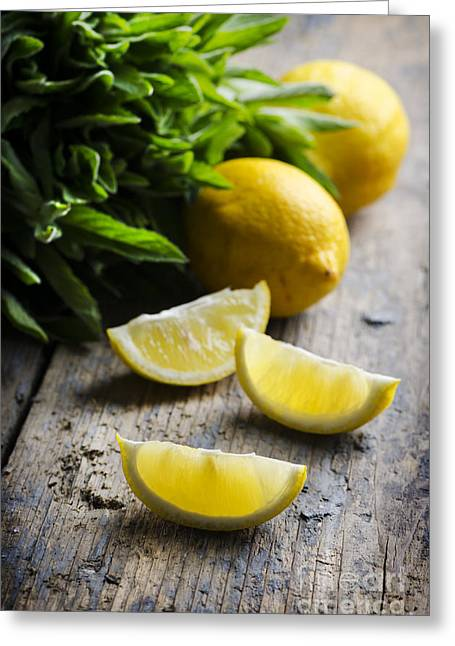 Lemon Slices Greeting Card by Jelena Jovanovic
