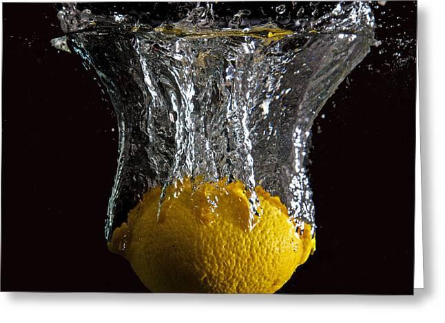 Greeting Card featuring the digital art Lemon Splash by John Hoey