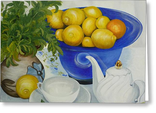 Greeting Card featuring the painting Lemon Tea by Helen Syron