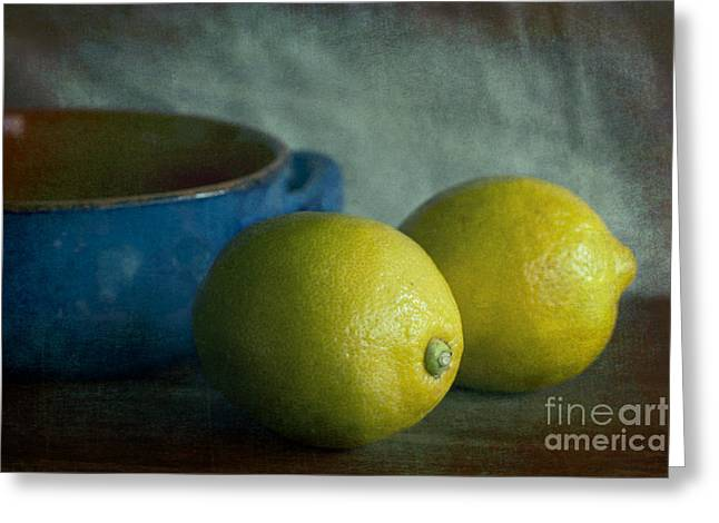 Lemons And Blue Terracotta Pot Greeting Card by Elena Nosyreva